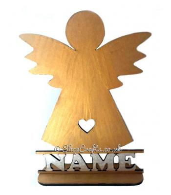 Personalised Angel Shape on a Stand with Name