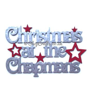 Christmas at the surnames star themed hanging sign with Vic Font