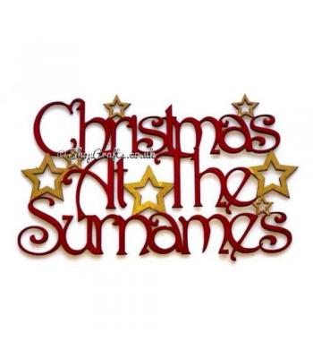 ' Christmas At The .. Surname ' hanging Sign with a Decorative Font and Stars