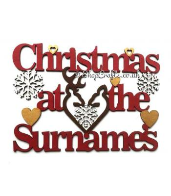 Christmas at the Surname Hanging sign with Snowflakes,Hearts and a Stag & Deer head