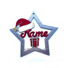 Large Personalised Star Christmas Tree Bauble with Santa Hat & Present 200mm Design