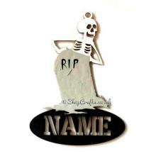Personalised Name Halloween Tag/Decoration - Skeleton with Gravestone