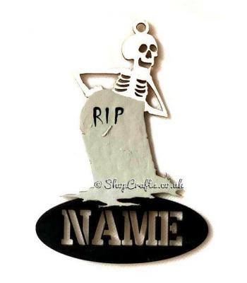 Personalised Name Halloween Tag/Decoration - Skeleton with Gravestone