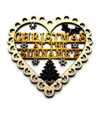 "Christmas at the ""Surnames"" Lace Hanging Heart Design"