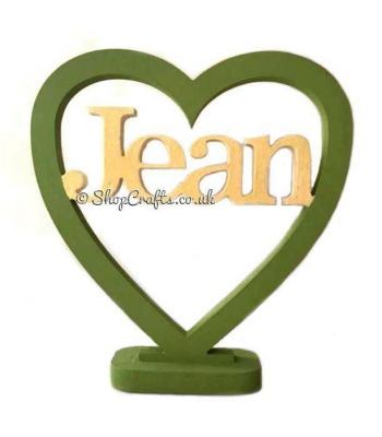 Personalised Name Freestanding 18mm thick Heart on stand
