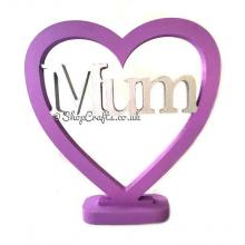 Female Family Name  Personalised Freestanding 18mm thick Heart on a Stand