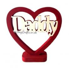 Male Personalised Family Name Heart on a Stand 18mm thick Freestanding
