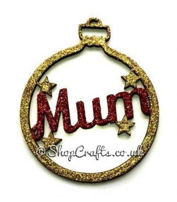 Family Name Christmas Tree Bauble with Stars - 100mm Size
