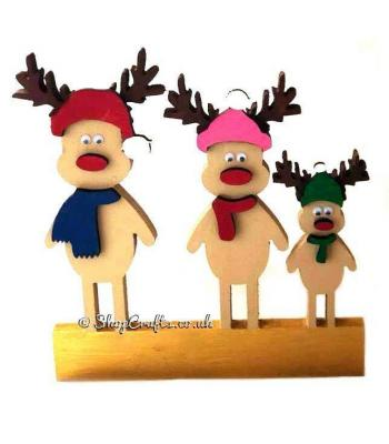 18mm thick Freestanding Reindeer Family with 6mm 3D Accessories