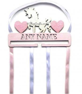 Personalised Name Unicorn & Hearts Hanging Bow Holder
