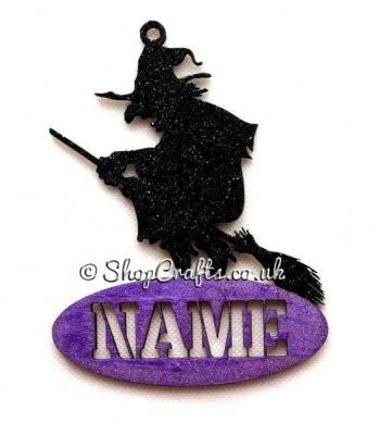 Personalised Halloween Name Tag Decoration Witch on a Broom