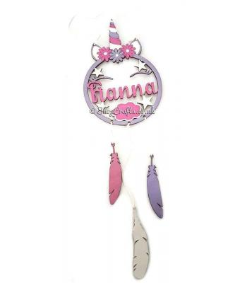 Personalised with Name Unicorn Dream Catcher with 3 hanging feathers