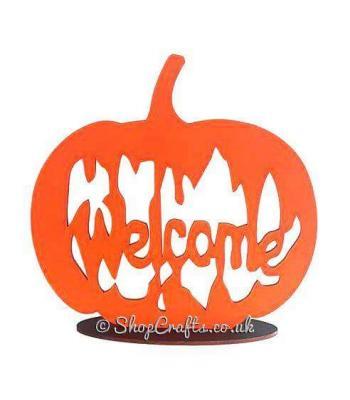 Laser Cut 'Welcome' Pumpkin on a stand