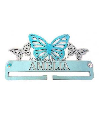 Personalised butterfly bow holder with name