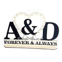 Initials forever & always wedding / anniversary sign on stand