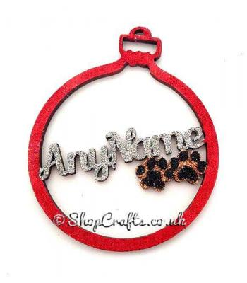 Personalised name pet bauble with paw prints inside