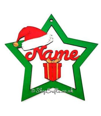 Large personalised name star bauble with santa hat and present shapes