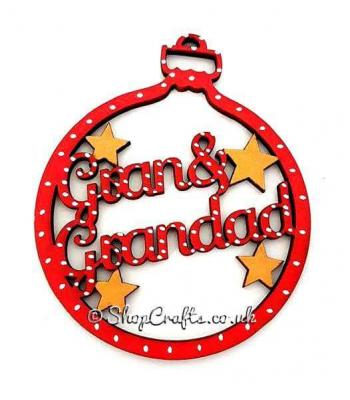 Gran and grandad christmas tree bauble-other family names available