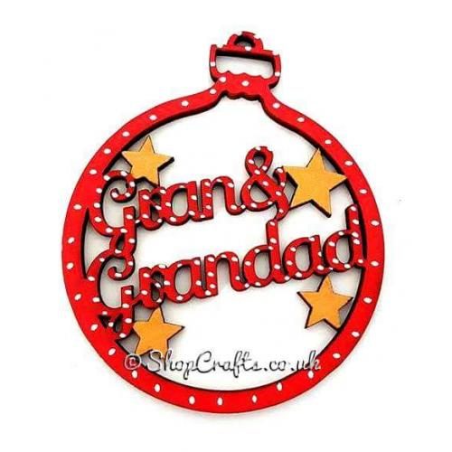 gran and grandad christmas tree bauble other family names available