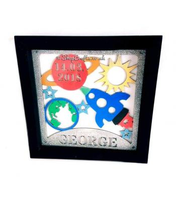 Personalised box frame birth details plaque-space theme