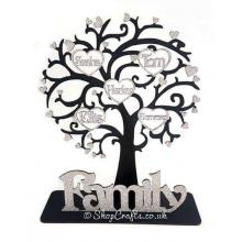 Personalised family tree on a stand with heart frames and names inside