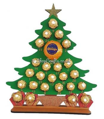 6mm Reusable Christmas Tree Chocolate  Advent Calendar - more designs available