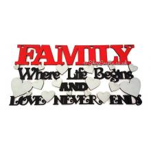Family, where life begins and love never ends quote sign
