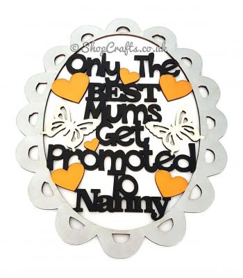 'Only The Best Mums Get Promoted To Nanny' Framed Quote Sign