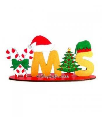 Reusable Detailed Xmas word on a stand