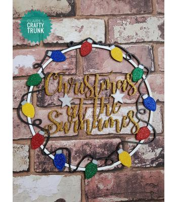 Personalised 'Christmas at the Name' Hanging Wall Art Hoop with Christmas Lights