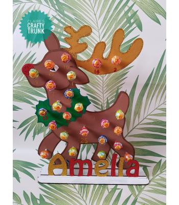 Rudolph Reindeer Reusable 3mm Thick Lollipop advent calendar with Personalised Stand