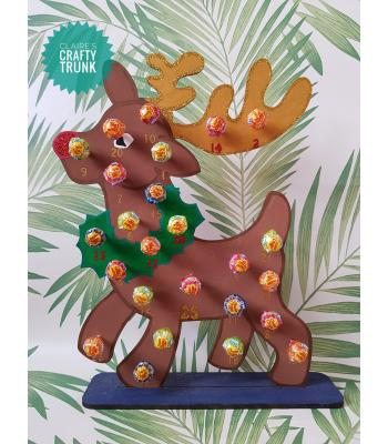 Rudolph Reindeer Reusable 3mm Thick Lollipop advent calendar - More Designs Available