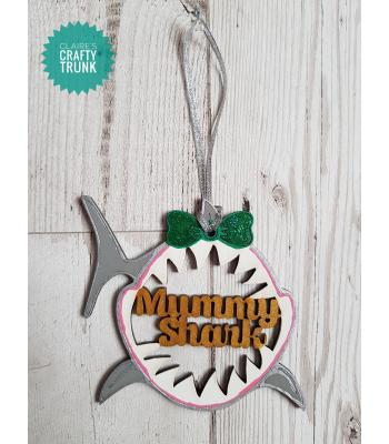 'Mummy' Personalised Shark Head Hanging Bauble - More Designs Available