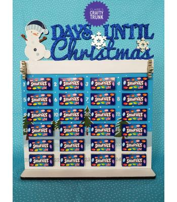 Days Until Christmas with Snowman Smarties Treat size Advent Calendar - More Designs Available