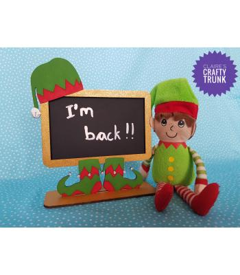Elf Chalkboard Design on a Stand