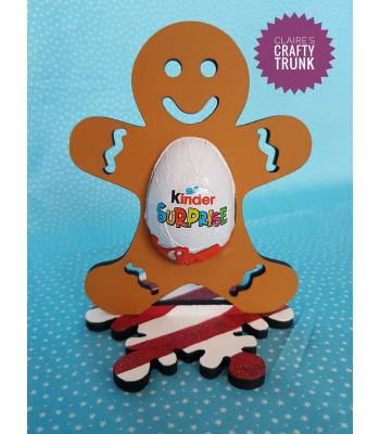 Gingerbread man Chocolate Kinder Egg Holder on Snowflake stand *More designs available.