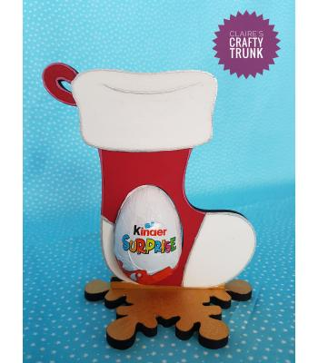 Christmas Stocking Chocolate Kinder Egg Holder on Snowflake stand *More designs available.