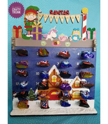 Santa's Workshop with Girl Elf Chocolate Treat size advent calendar - More Designs Available