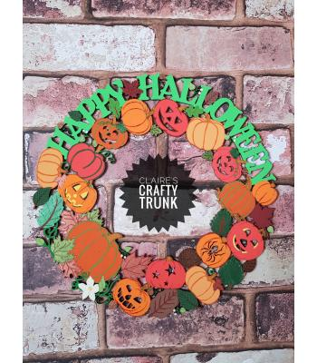 Detailed Happy Halloween Pumpkin and Autumn Leaves Reusable Hanging Door Wreath