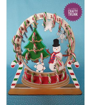 Snowglobe Reusable Candy Cane Holder Advent Calendar - More Designs Available