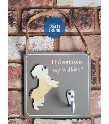 Did Someone Say 'Walkies' ? Dog lead Plaque Holder