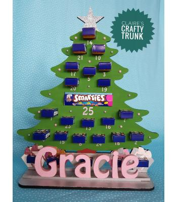 Christmas Tree Smarties Mini Boxes advent calendar with Personalised Stand - More Designs Available