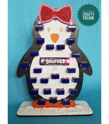 Penguin Girl Reusable Smarties Mini Boxes advent calendar - More Designs Available
