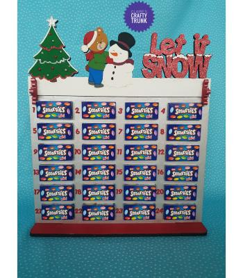 Let It Snow with Teddy and Snowman Smarties Treat size calendar - More Designs and Options Available