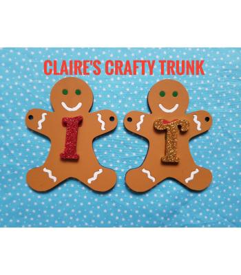 Personalised hanging Gingerbread man Christmas Themed Bunting - More Designs Available