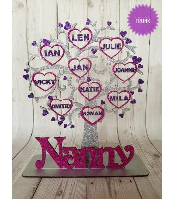 Freestanding Personalised Family Tree with Heart Frames with Names inside Tree on a Stand