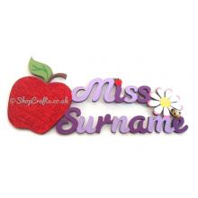 Personalisd Teacher's Name Sign with Apple and Flower