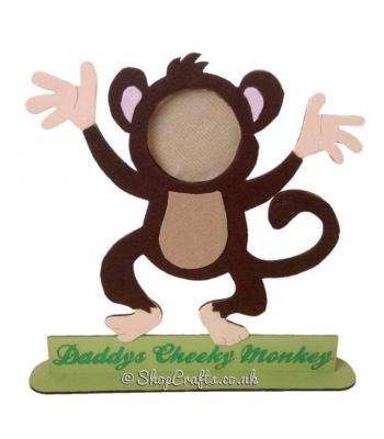 Personalised Cheeky Little Monkey Family Photo Frame on Stand - More Options Available