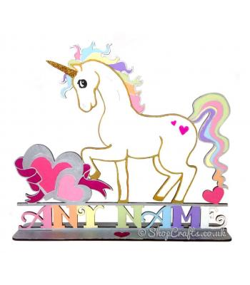 Unicorn Shape on Stand Personalised with a Name * More Designs Available