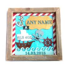 Pirate Birth Details Sampler Box Frame Plaque